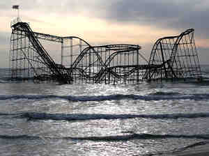 The Jersey shore's iconic Star Jet roller coaster was inundated after Superstorm Sandy.