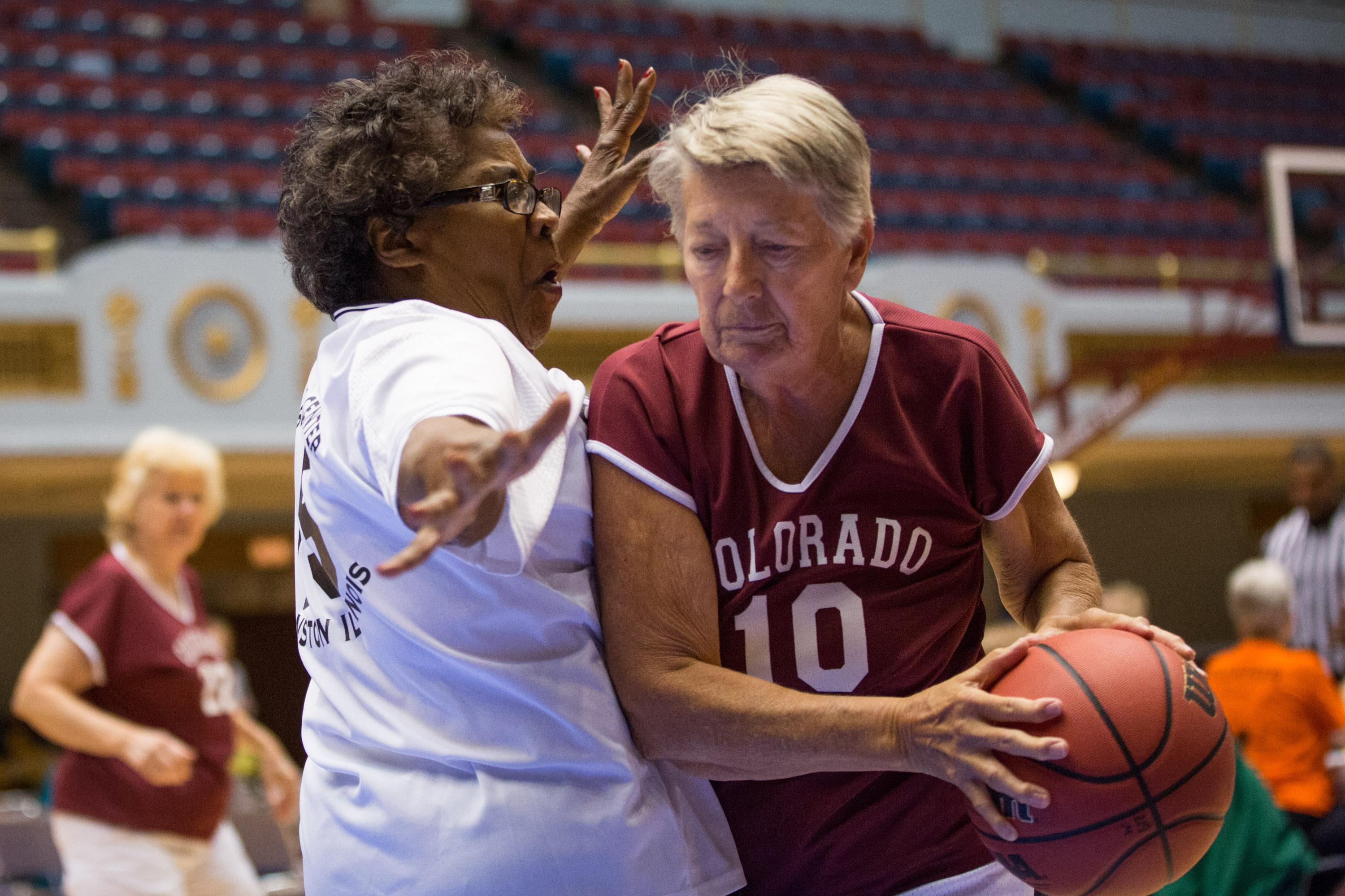 The game's action is fairly slow, but despite their age, the women play a very physical game. The 3-on-3 games are played on a half-court, where each player plays offense and defense.