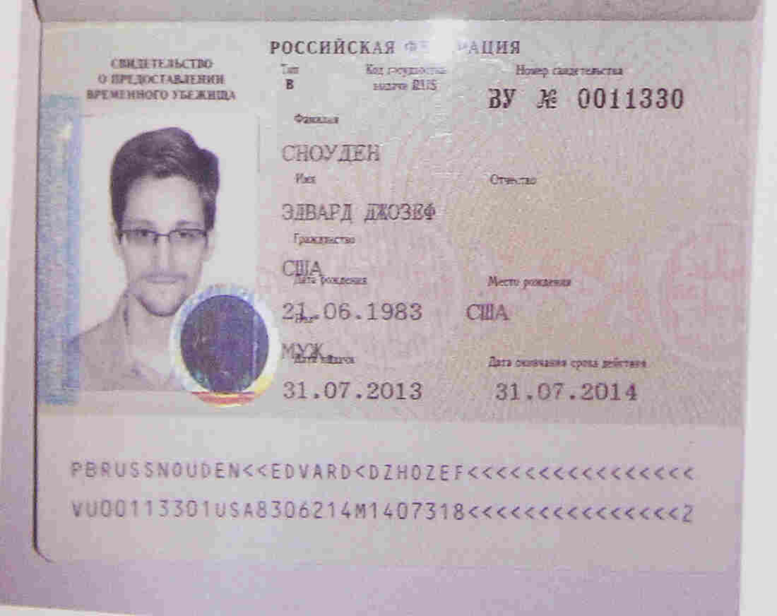 Edward Snowden's new refugee documents, which were shown by his lawyer.