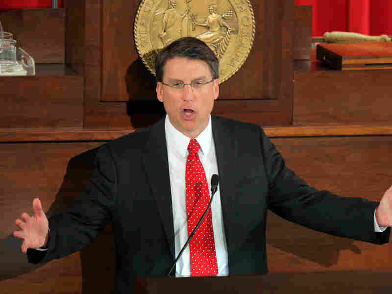 North Carolina Gov. Pat McCrory delivers the State of the State address, in Raleigh on Feb. 18.