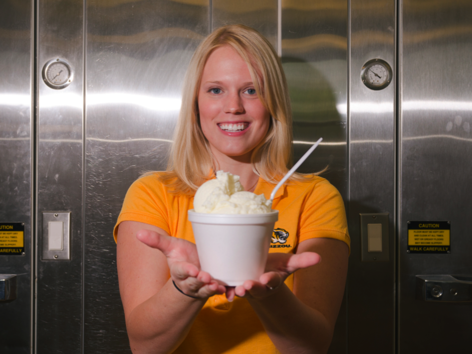 "Former University of Missouri graduate student Elizabeth Fenner poses with her ""flavor release""€ ice cream that shifts from vanilla to cherry flavor in the mouth."