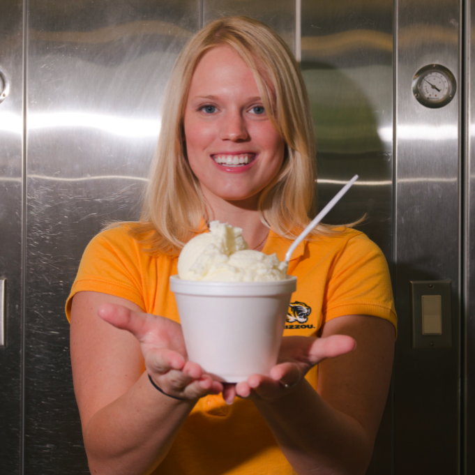 "Former University of Missouri graduate student Elizabeth Fenner poses with her ""flavor release""�� ice cream that shifts from vanilla to cherry flavor in the mouth."