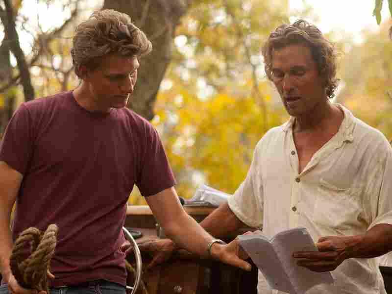 Writer-director Jeff Nichols and Matthew McConaughey on the set of Mud.