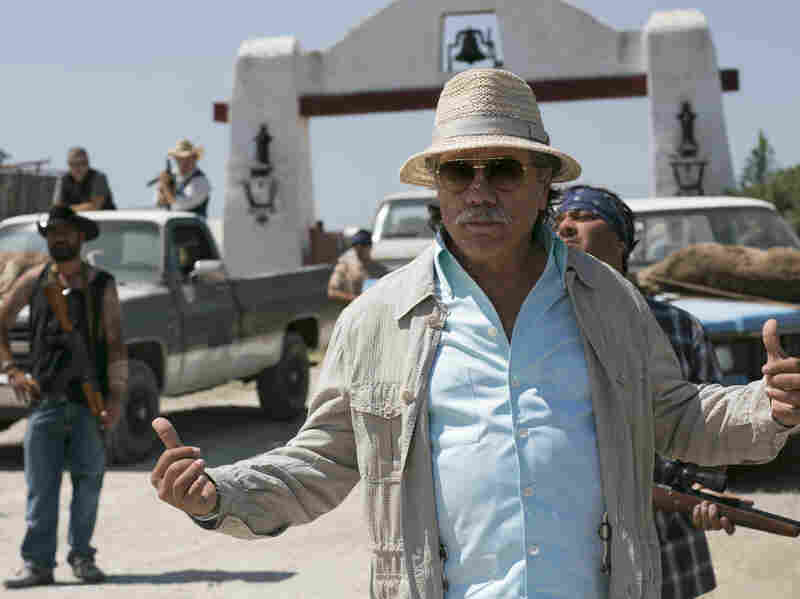 Edward James Olmos plays the drug lord targeted in the intelligence operation that both of the film's lead characters turn out to be connected to.