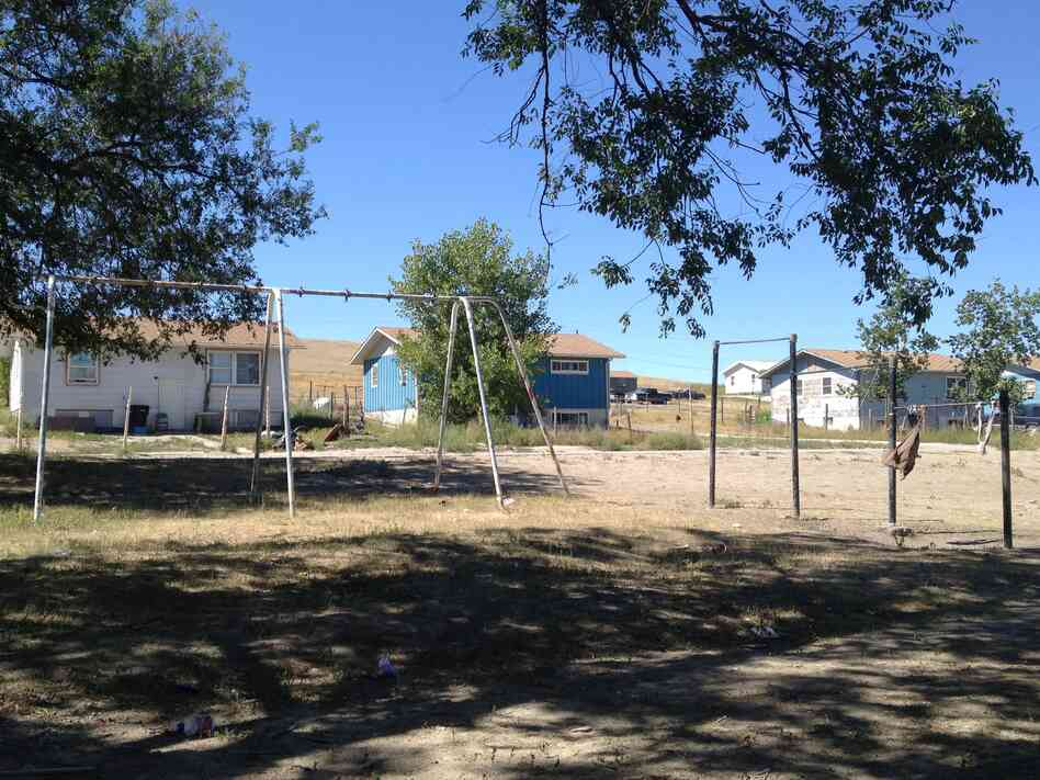 This Sept. 8, 2012, photo shows a playground on the Pine Ridge Indian Reservation in South Dakota. The reservation for years has attracted the eyes and ears of journalists and activists eager to tell the stories of the Oglala Sioux Tribe.