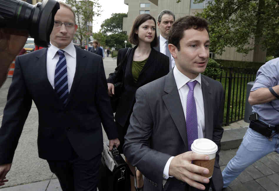 Former Goldman Sachs trader Fabrice Tourre walks to a federal court in Manhattan with