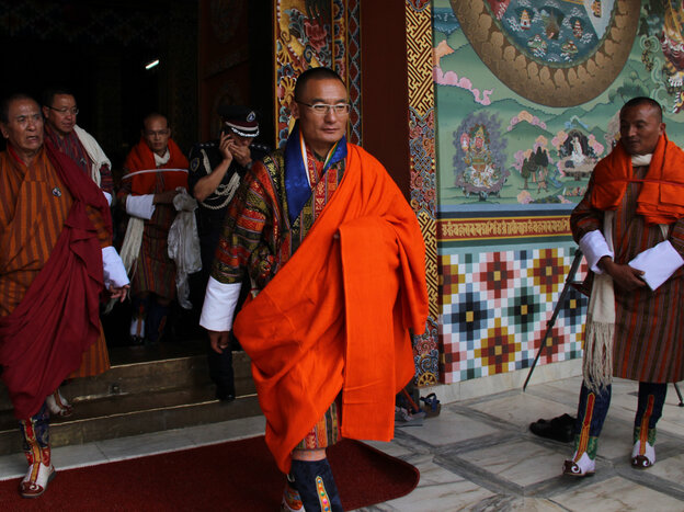 Tshering Tobgay receives appointment as prime minister in the Bhutanese capital, Thimpu, last week.