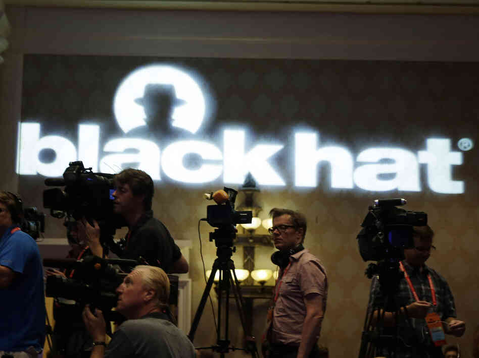 The press set up to film Army Gen. Keith Alexander, head of the National Security Agency, at the Black Hat hacker conference on Wednesday.