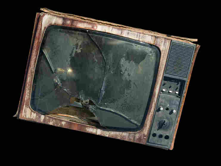 The old TV with a broken screen