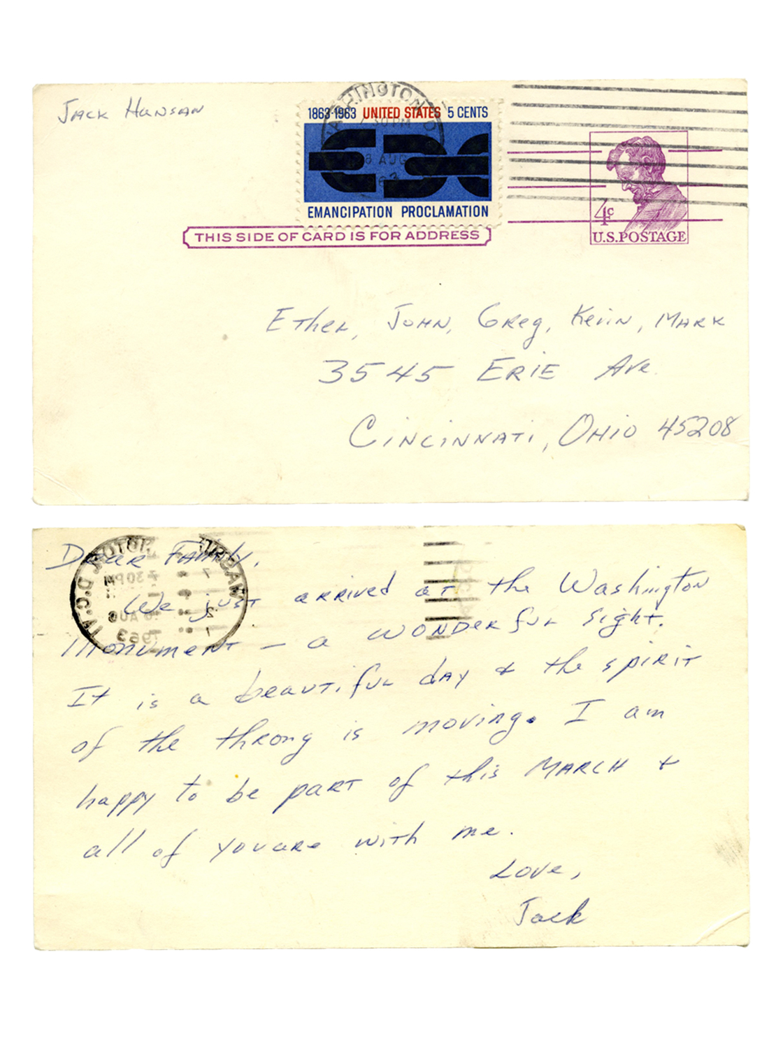 "Hansan sent his wife and four sons a postcard on the day of the march. Back in Ohio, his wife says she was ""living it vicariously"" via the television broadcast."