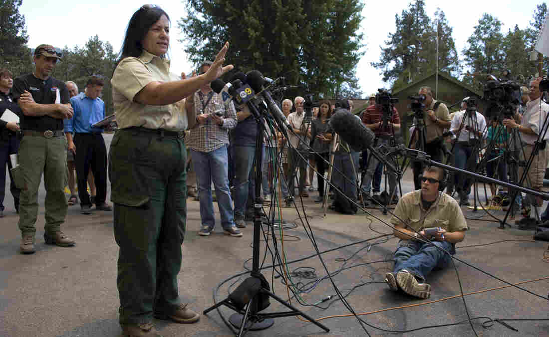 """Jeanne Pincha-Tulley, a Type 1 incident commander, addresses the media in the then-evacuated town of Idyllwild, as the Mountain Fire grows closer. Pincha-Tulley has a reputation for being frank and direct with the media and public. """"For the next two days,"""" she said, """"the fire is going to put embers right over this town."""""""