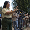 "Jeanne Pincha-Tulley, a Type 1 incident commander, addresses the media in the then-evacuated town of Idyllwild, as the Mountain Fire grows closer. Pincha-Tulley has a reputation for being frank and direct with the media and public. ""For the next two days,"" she said, ""the fire is going to put embers right over this town."""
