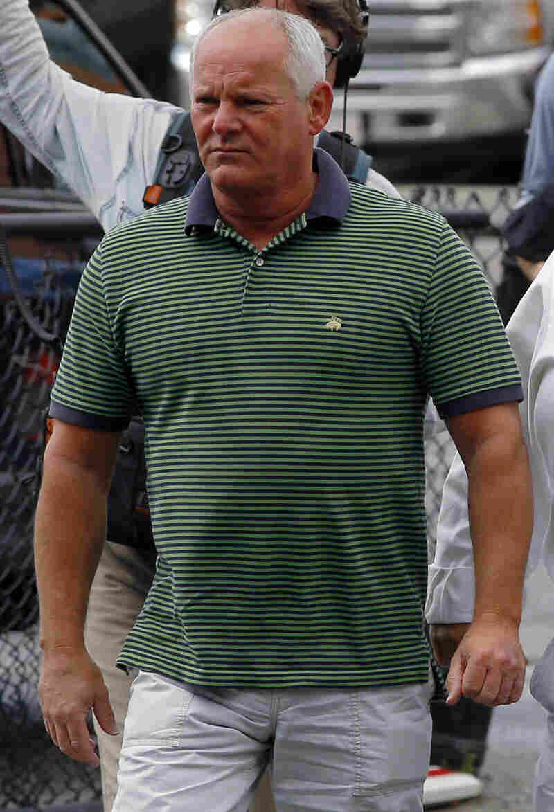 "Stephen Rakes as he arrived at the U.S. Federal Courthouse in Boston on June 12 for the first day of the ""Whitey"" Bulger's trial."
