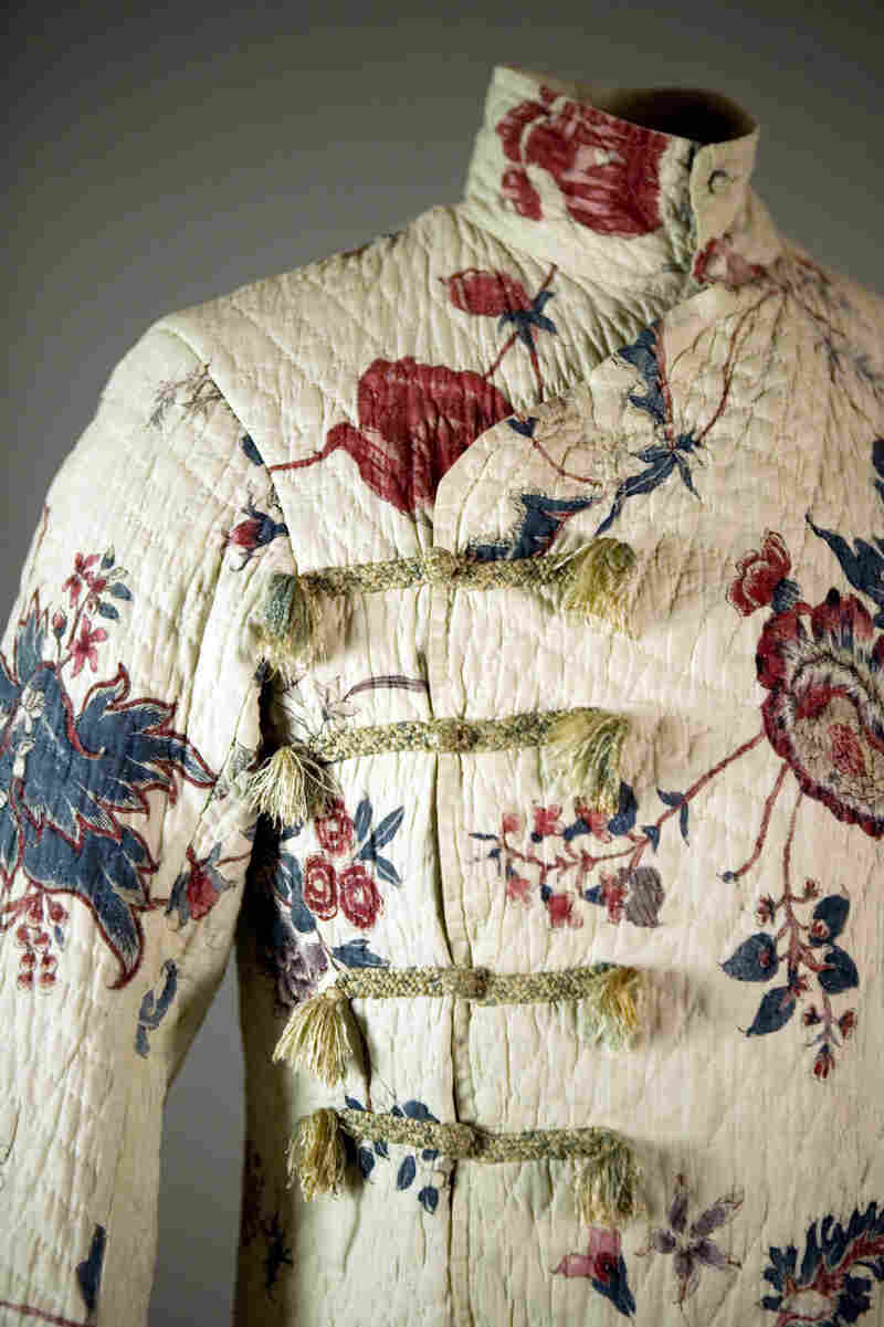 In his youth, even before he cavorted with Beau Brummell, the future George IV took liberties in his dress that are particularly evident in this exotic chintz banyan from the 1780s. A quilted and printed loosely cut robe meant for the intimacy of the home environment, the banyan alluded to the mysteries and pleasures of Middle East and Asia.