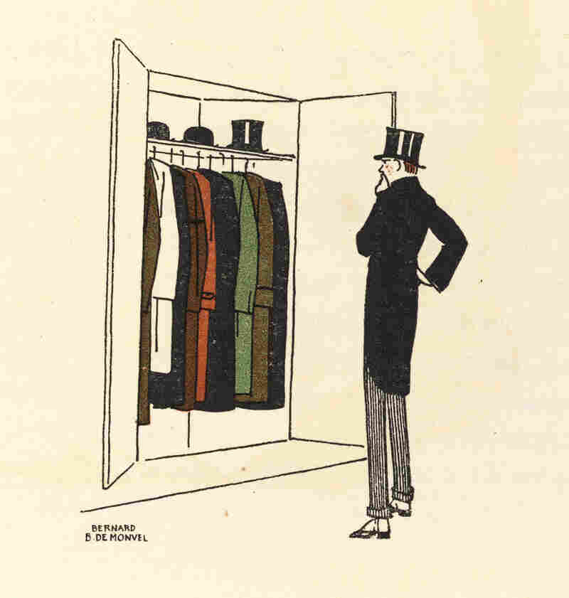 Publications such as the influential fashion journal Gazette du Bon Ton featured illustrations like this one from 1913 by Bernard Boutet de Monvel, which depicts the life of the flaneur, or the fashionable man on the street.