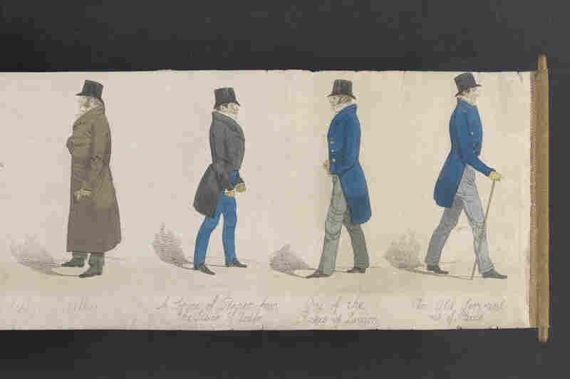 "Richard Dighton (1795-1880) was Robert Dighton's son. His 1823 Mirror of Fashion is a panoramic depiction of 53 ""dandies of the day."""