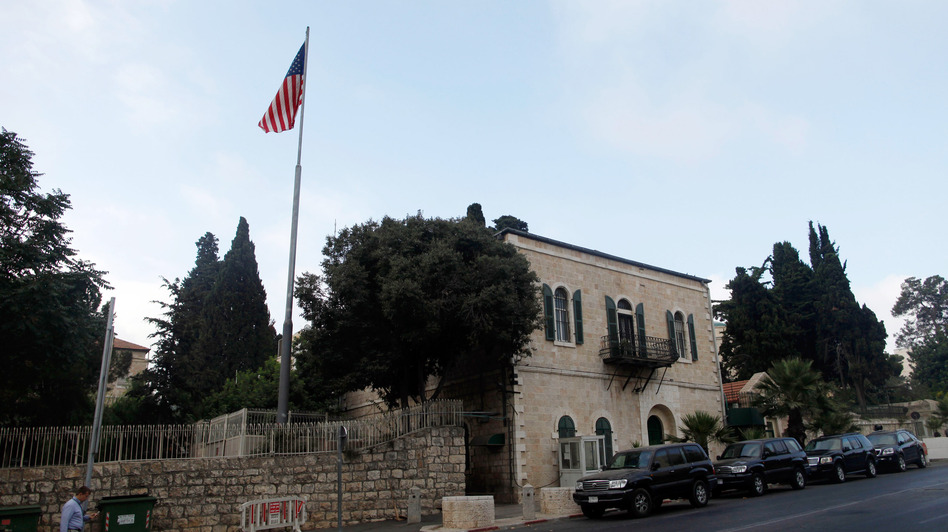 An American flag flies over the U.S. Consulate in Jerusalem on Sunday. (Getty Images)