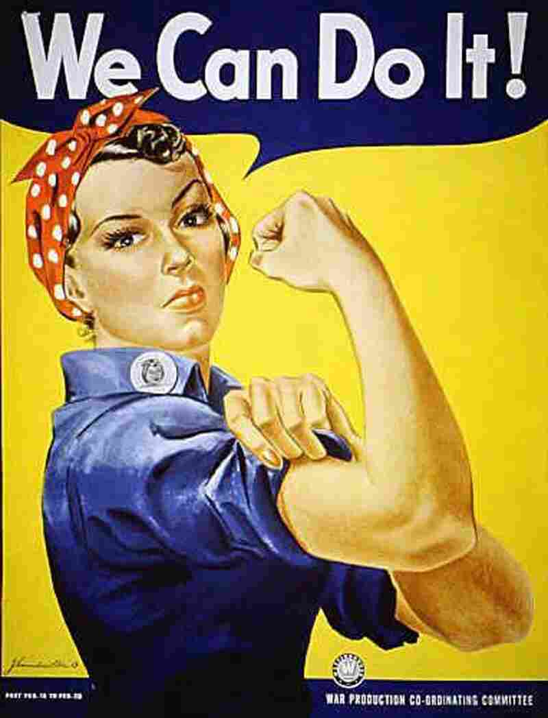 """""""Rosie the Riveter"""" was the nation's poster girl for patriotism during World War II. The real Rosie, Rose Will Monroe, worked at the Willow Run plant in Michigan."""