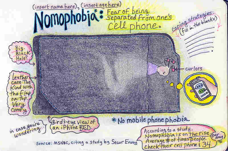 Nomophobia: Fear of being separated from one's cellphone.