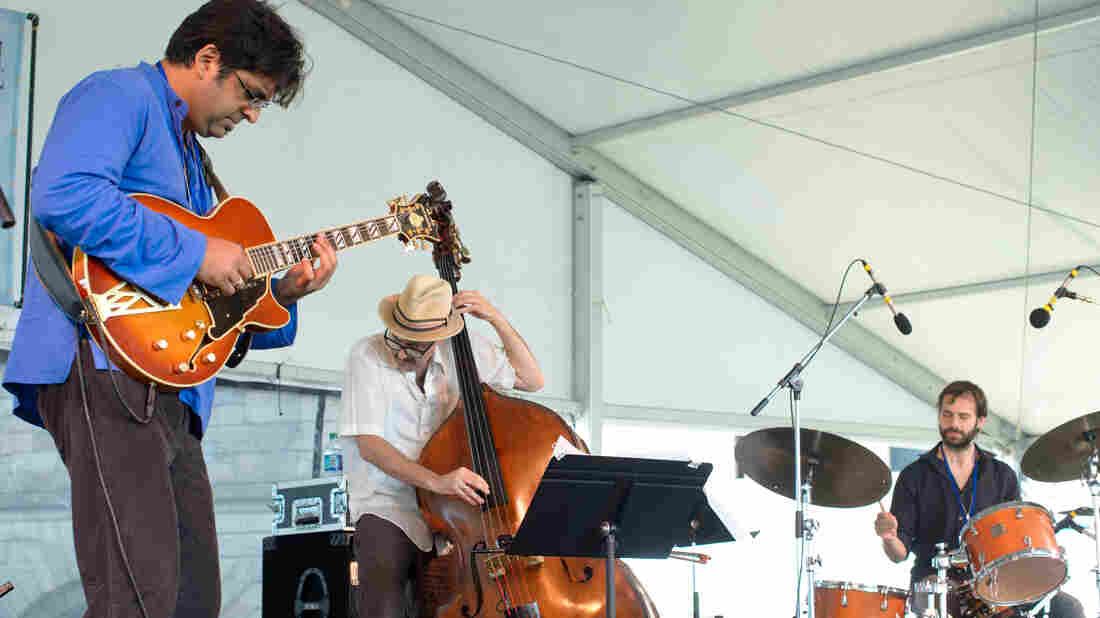 The Rez Abbasi Trio performs at the 2013 Newport Jazz Festival