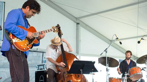 The Rez Abbasi Trio performs at the 2013 Newport Jazz Festival