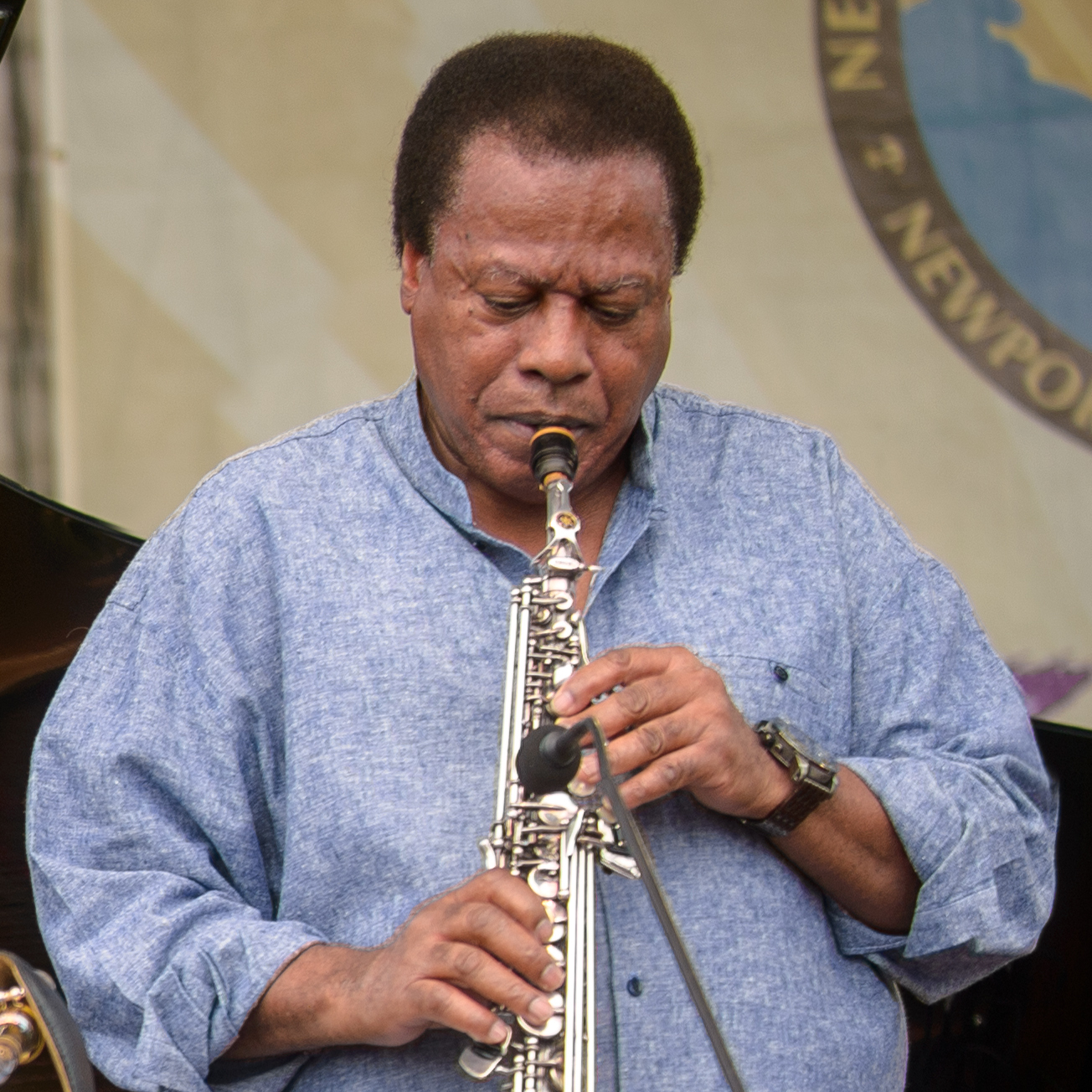 Herbie Hancock (left) joins Wayne Shorter at the 2013 Newport Jazz Festival.