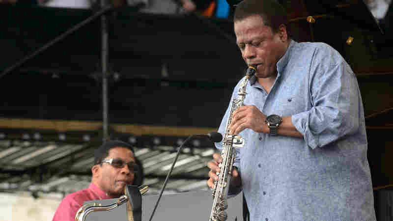 Wayne Shorter performs with Herbie Hancock at the 2013 Newport Jazz Festival.