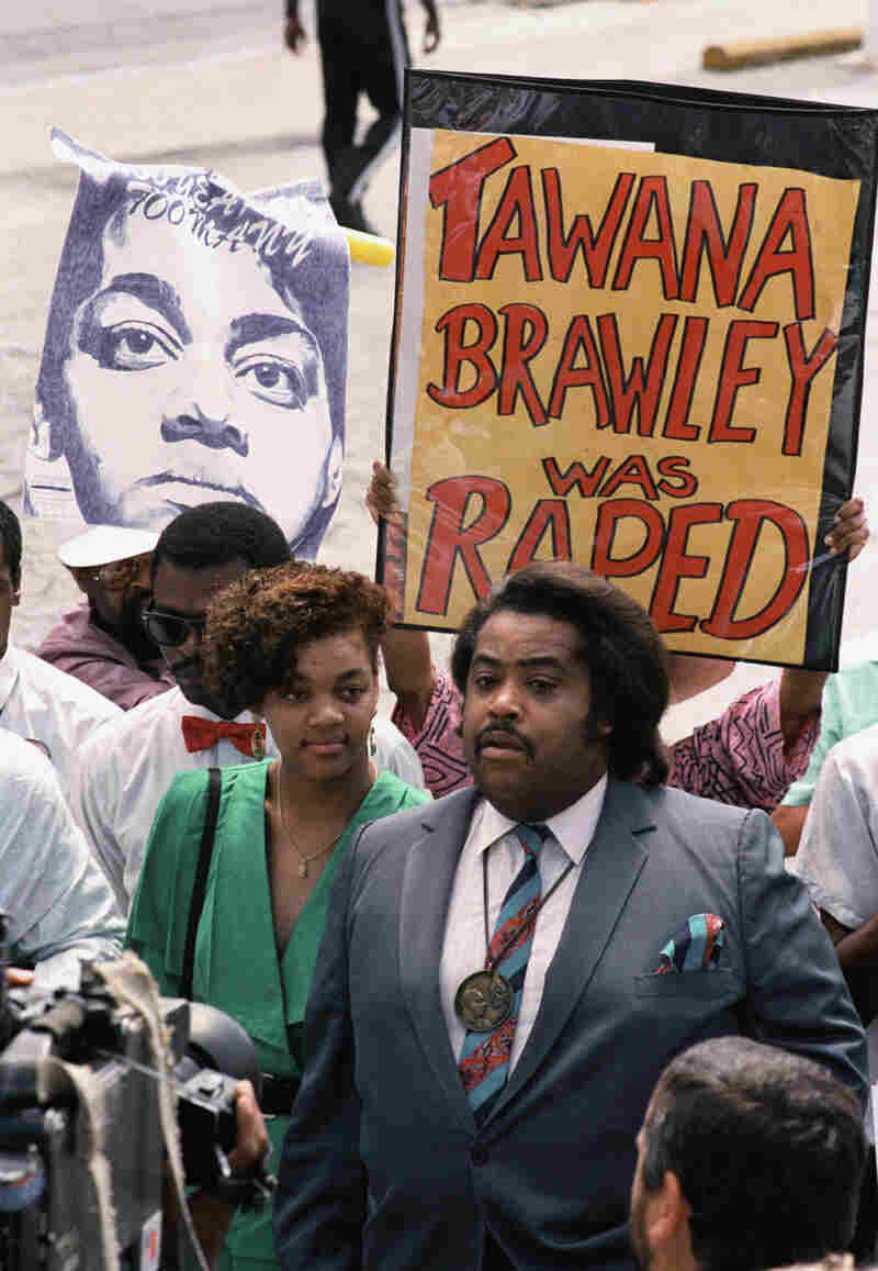 Tawana Brawley and the Rev. Al Sharpton at a protest in 1988.
