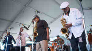 The Dirty Dozen Brass Band performs at the 2013 Newport Jazz Festival.