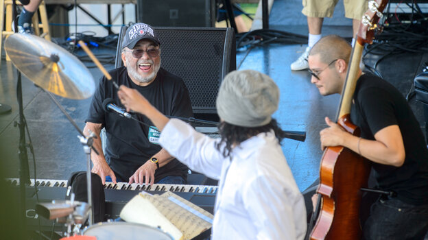 Eddie Palmieri Salsa Orchestra performs at the 2013 Newport Jazz Festival.
