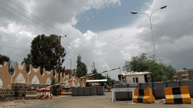 A checkpoint leading to the closed U.S. Embassy compound in the Yemeni capital, Sanaa, on Saturday. (AFP/Getty Images)