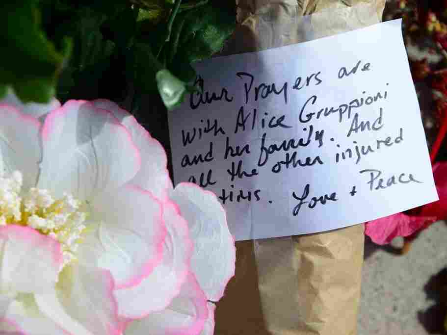 Flowers and notes have been left at the scene in Venice Beach, Calif., where Italian honeymooner Alice Gruppioni was killed and about a dozen more people were injured by a car that plowed through crowds on the boardwalk.