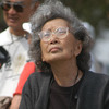 Kochiyama looks at a memorial for World War II Japanese-American internees at the Rohwer Relocation Center in Rohwer, Ark., in 2004.