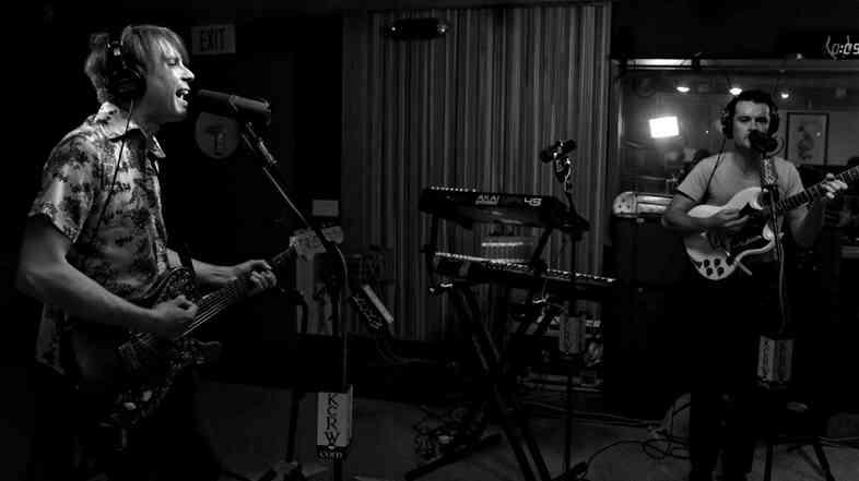 Franz Ferdinand's Alex Kapranos and Nick McCarthy during their performance on KCRW.