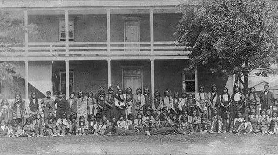 Sioux children as they arrived at the Indian School at Carlisle Barracks, Oct. 5 1879.