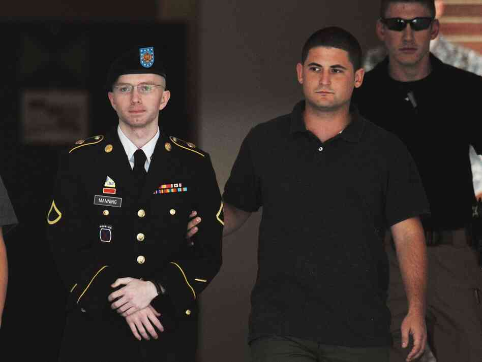 Army Pfc. Bradley Manning is escorted from court
