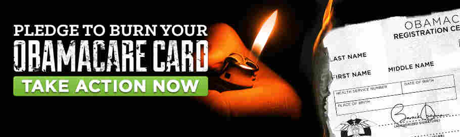 "A screenshot from the FreedomWorks website, which is urging citizens opposed to the Affordable Care Act to opt out of the law's requirement to have insurance. It asks Americans to symbolically ""burn your Obamacare card."" In reality, no such card will exist."