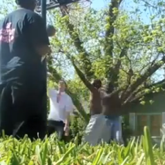 A screen-shot from YouTube of a game of pickup basketball.
