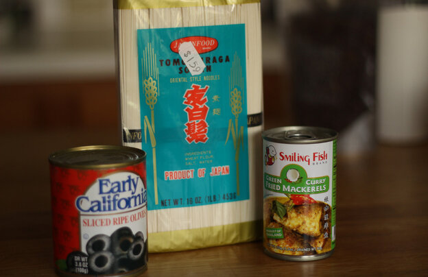 What to do with a can of olives, noodles and Korean spices?