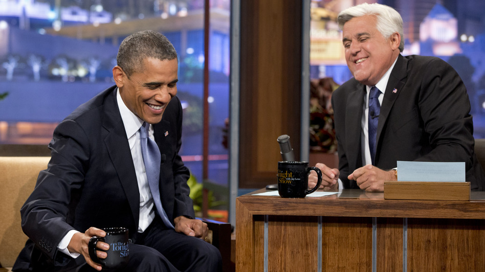 President Obama jokes with Jay Leno during a commercial break at the taping of his appearance on <em>The Tonight Show with Jay Leno</em> on Tuesday in Los Angeles.