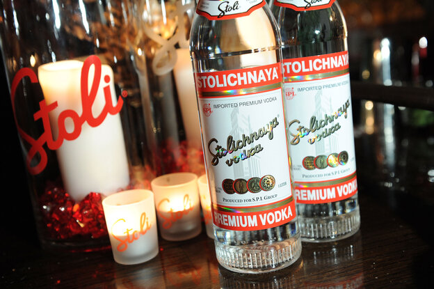 """If you look carefully, you'll see that the labels on bottles of Stolichnaya vodka sold outside Russia (like these in New York City) read """"Premium Vodka,"""" not """"Russian Vodka."""""""