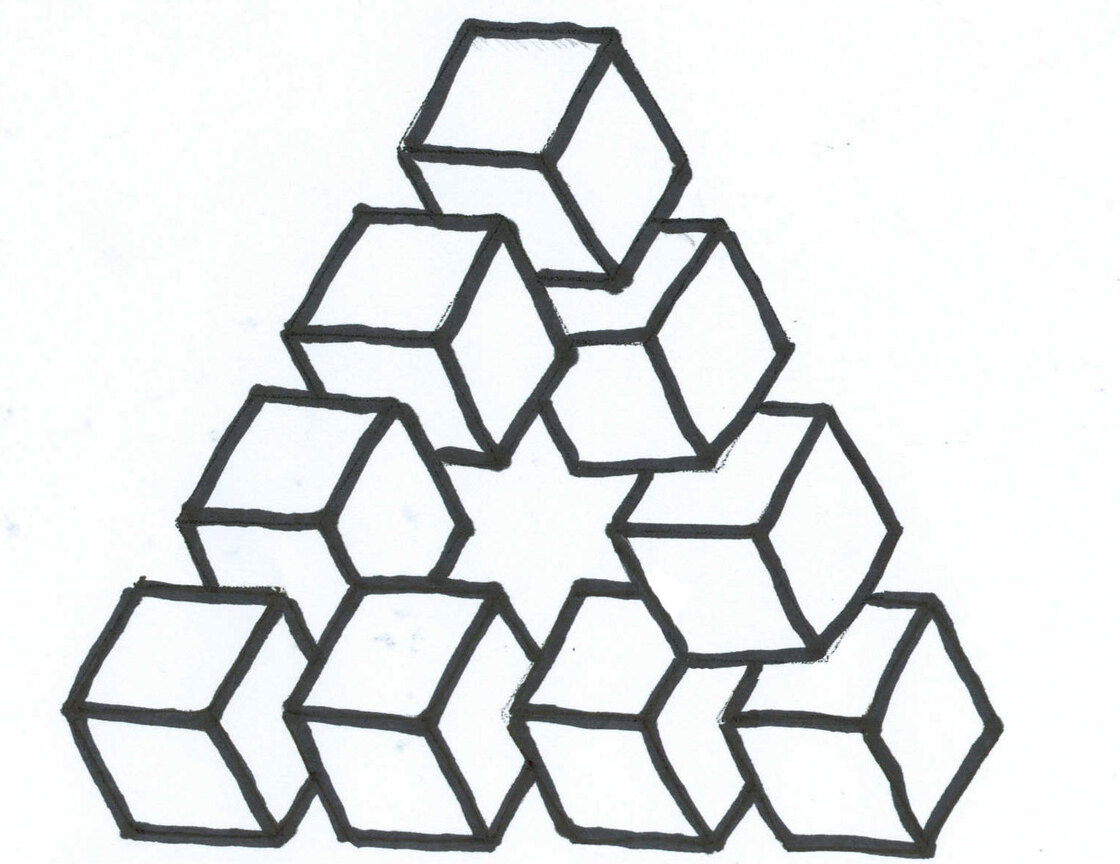 Penrose Triangle Cubes   Impossible Triangle of