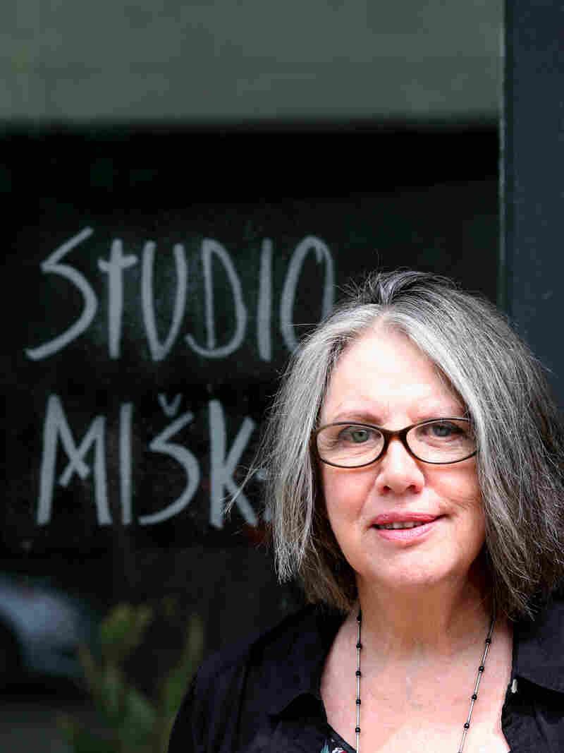 Fiber artist Freda Fairchild at the door of her Studio Miska (Dear Little Mouse).