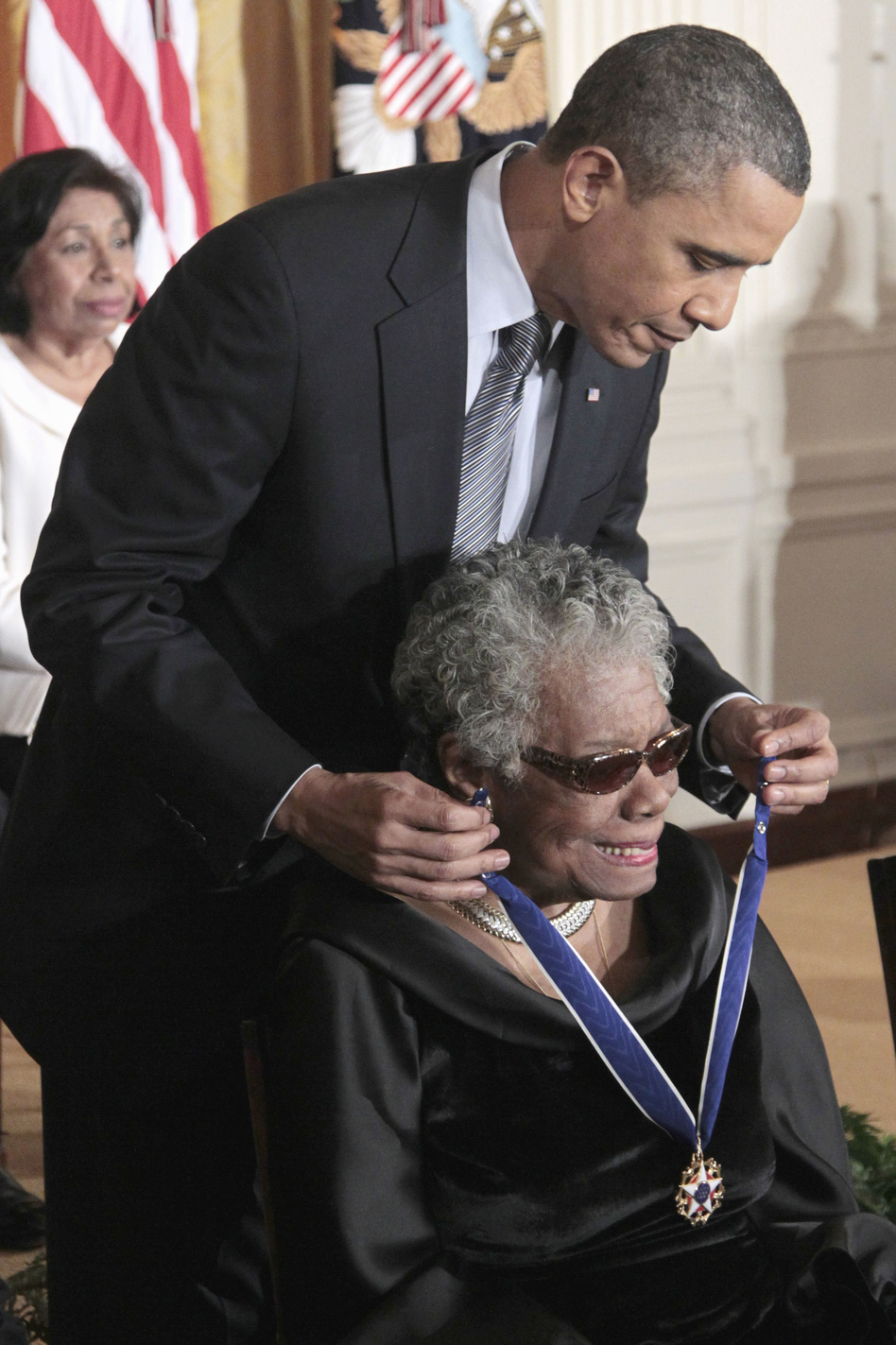 President Obama presents a Medal of Freedom to Angelou during a ceremony at the White House on Feb. 15, 2011. (AP)