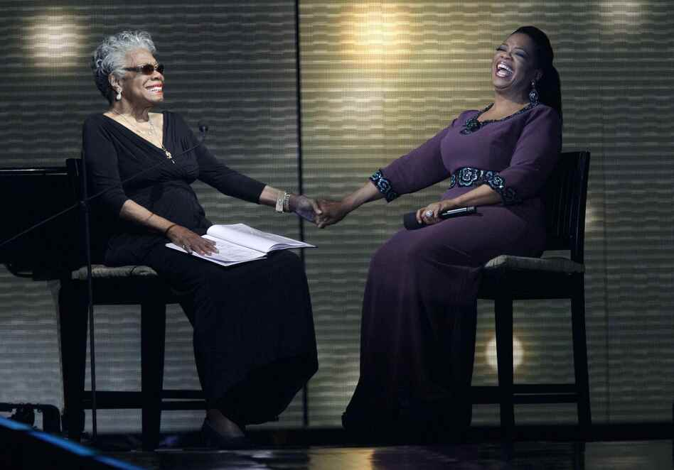 "Angelou (left) and Oprah Winfrey laugh during a star-studded taping of ""Surprise Oprah! A Farewell Spectacular"" on May 17, 2011, in Chicago. (AP)"