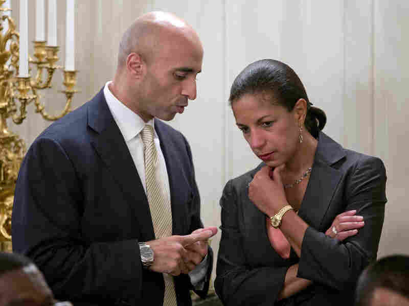 Rice talks with Yousef Al Otaiba, the United Arab Emirates' ambassador to the United States, before the start of a dinner celebrating Ramadan at the White House last month.