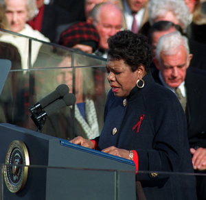 """Angelou recites her poem """"On the Pulse of the Morning"""" during President Clinton's inauguration in Washington, D.C., on Jan. 20, 1993."""