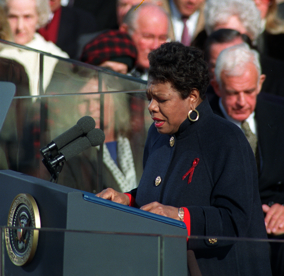 "Angelou recites her poem ""On the Pulse of the Morning"" during President Clinton's inauguration in Washington, D.C., on Jan. 20, 1993. (AP)"