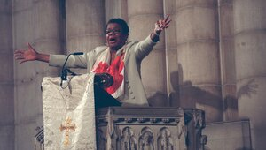 Angelou speaks during a memorial service for Betty Shabazz, the widow of Malcolm X, at Riverside Church in Harlem, N.Y., on June 29, 1997.