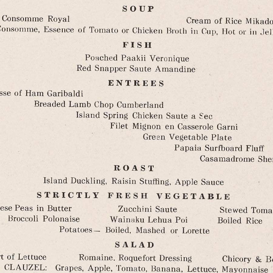 This vintage 1935 menu from the Royal Hawaiian Hotel lists flounder and red snapper, two local fish that an ecologist says have faded from Hawaiian menus over time.